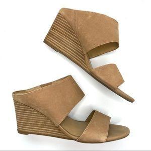Franco Sarto Tan Leather Open Toe Wedge Heels 7
